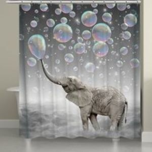 Lovely Bubbles Elephant Bath Shower Curtain